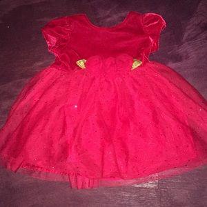 Beautiful velvet dress red (6-9 m)